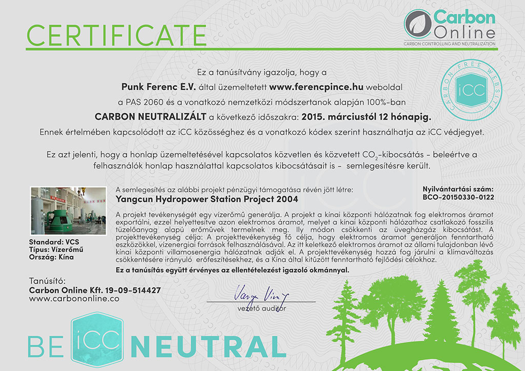 carbon neutral website certificate ferencpince hu signed