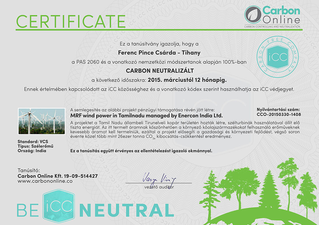 ferencpince carbon neutral company certificate signed